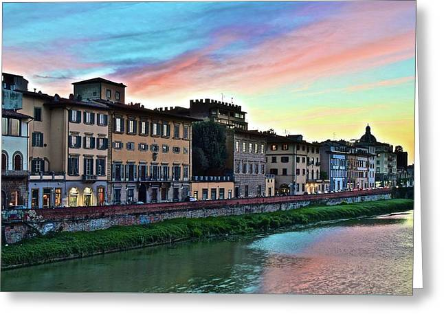 Rainbow Sky Over Florence Italy Greeting Card