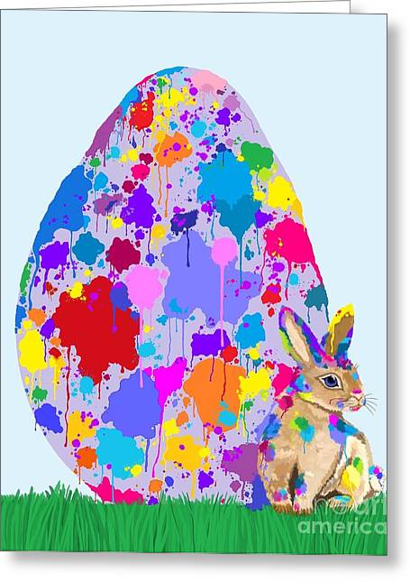 Rainbow Speckled Egg Greeting Card by Nick Gustafson