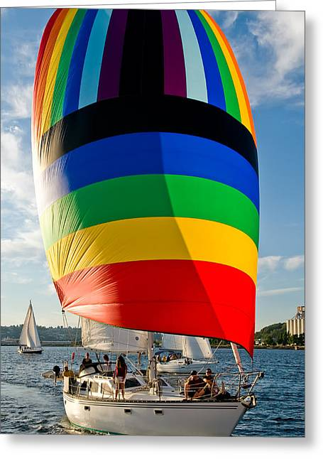 Rainbow Spinaker Greeting Card by Tom Dowd