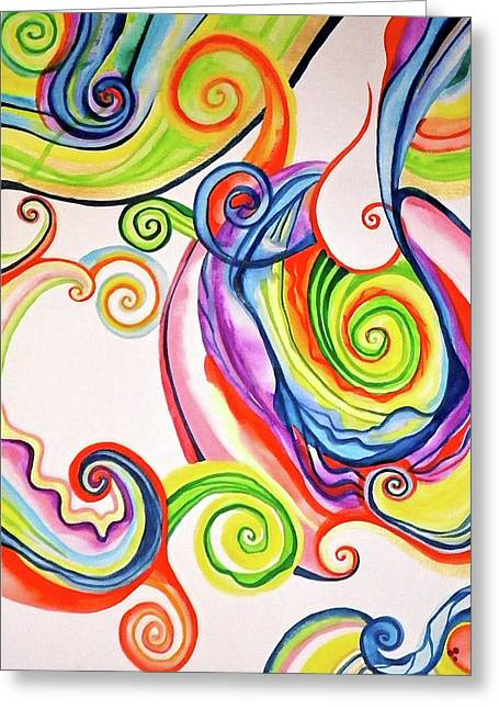 Rainbow Spirals Greeting Card by Erika Swartzkopf