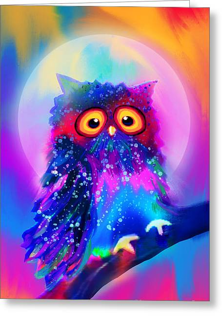 Rainbow Spotted Owl Greeting Card
