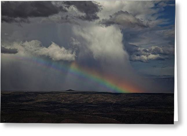 Greeting Card featuring the photograph Rainbow Storm Over The Verde Valley Arizona by Ron Chilston