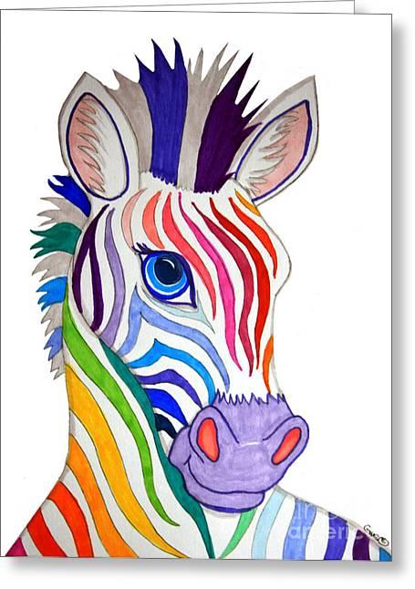 Rainbow Striped Zebra Greeting Card