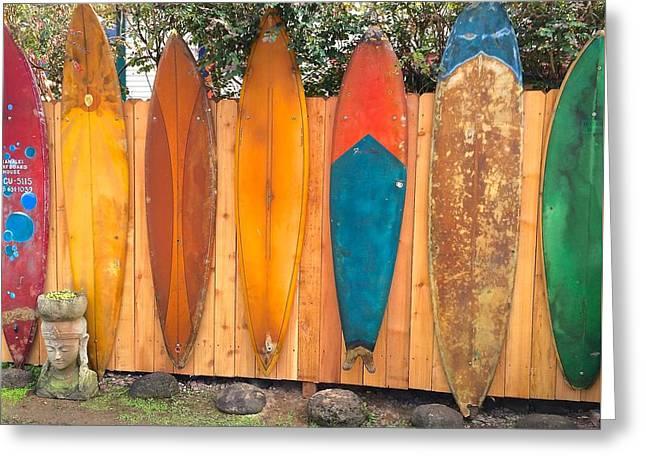 Surfboard Rainbow Greeting Card