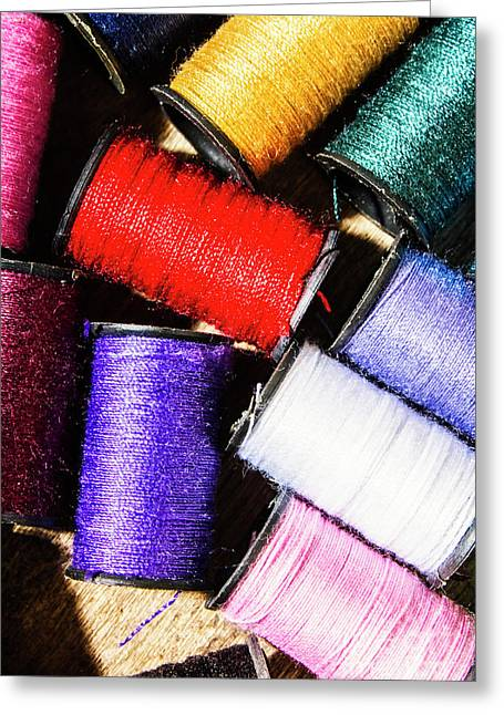 Rainbow Threads Sewing Equipment Greeting Card by Jorgo Photography - Wall Art Gallery