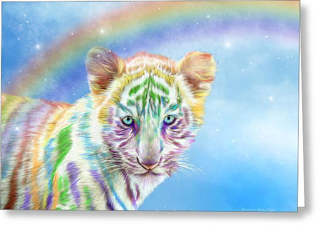 Greeting Card featuring the mixed media Rainbow Tiger - Horizontal by Carol Cavalaris