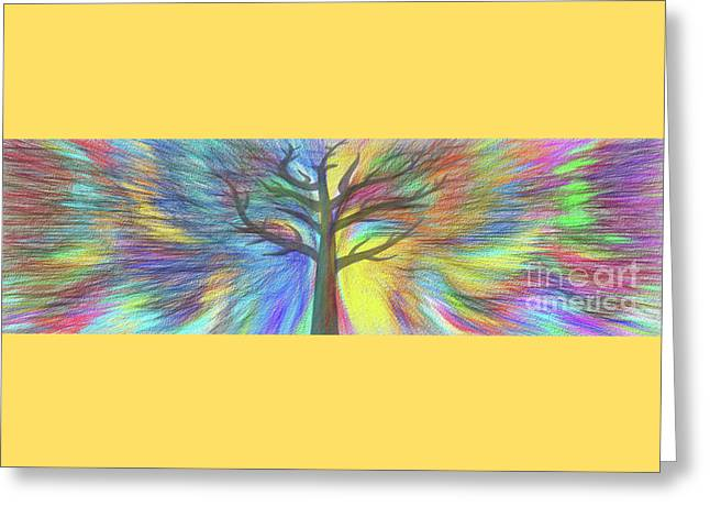 Greeting Card featuring the digital art Rainbow Tree By Kaye Menner by Kaye Menner