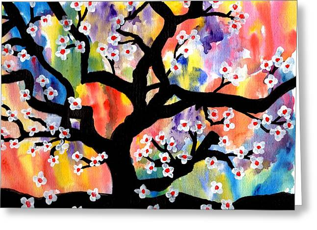 Rainbow Tree Greeting Card by Connie Valasco