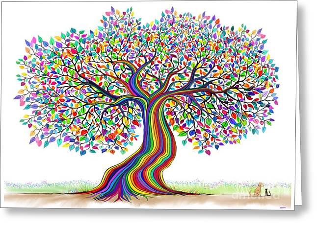 Rainbow Tree Friends  Greeting Card by Nick Gustafson