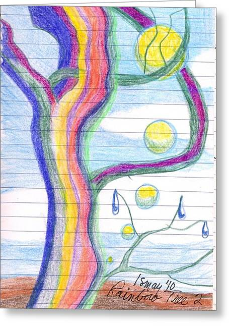 Rainbow Tree Revisited Greeting Card by Rod Ismay