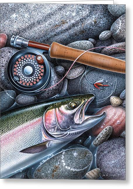 Best Sellers -  - Rainbow Trout Greeting Cards - Rainbow Trout Greeting Card by JQ Licensing