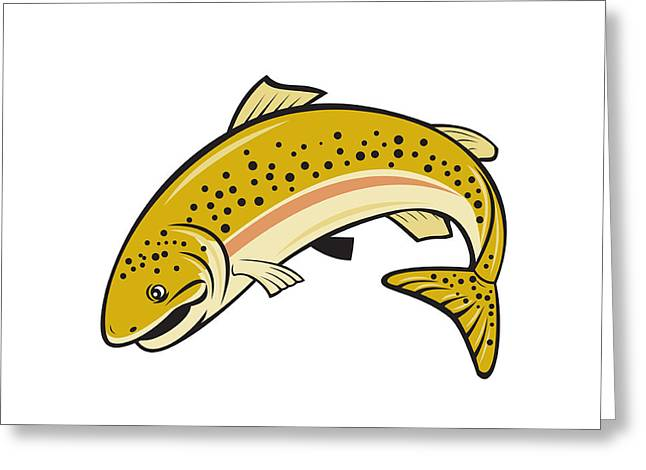 Rainbow Trout Jumping Cartoon Isolated Greeting Card