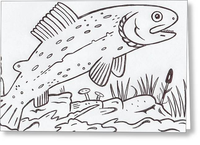 Rainbow Trout Greeting Card by Lester Noss