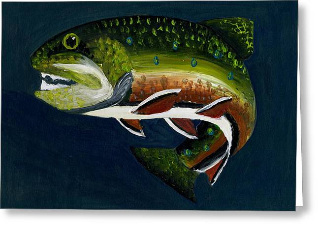 Rainbow Trout Greeting Cards - Rainbow Trout Greeting Card by Marie Hasty