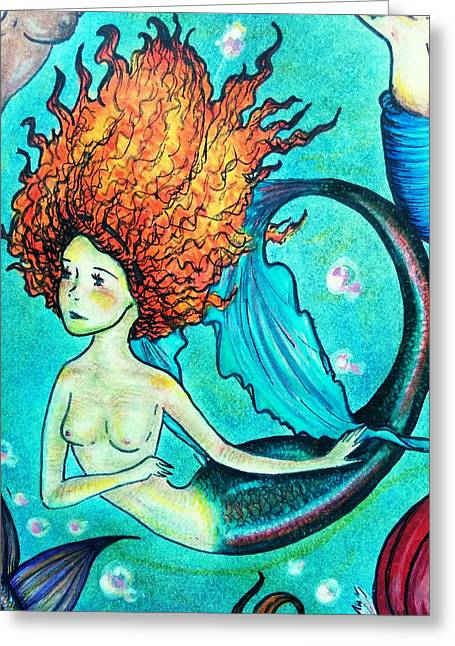 Rainbow Trout Mermaid Greeting Card by Summer Porter