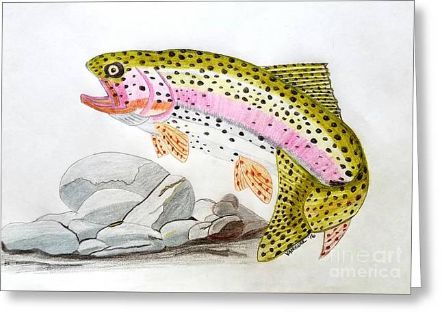 Rainbow Trout In Colored Pencil Greeting Card