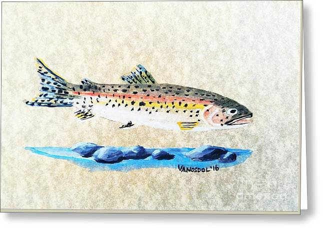 Rainbow Trout Watercolor Painting Greeting Card by Scott D Van Osdol