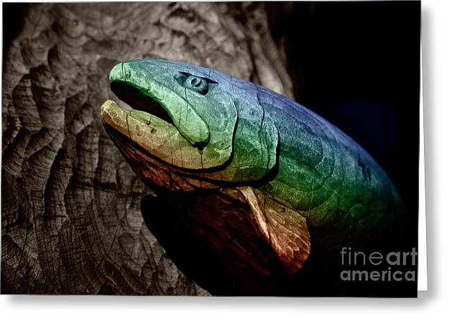 Greeting Card featuring the photograph Rainbow Trout Wood Sculpture by John Stephens