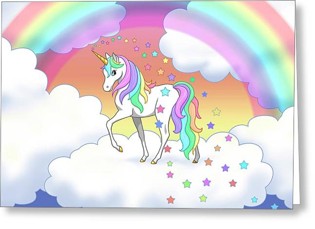 Rainbow Unicorn Clouds And Stars Greeting Card by Crista Forest