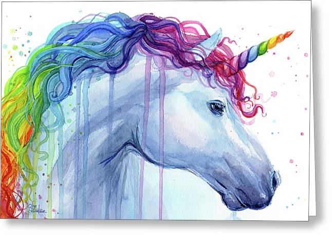 Rainbow Unicorn Watercolor Greeting Card