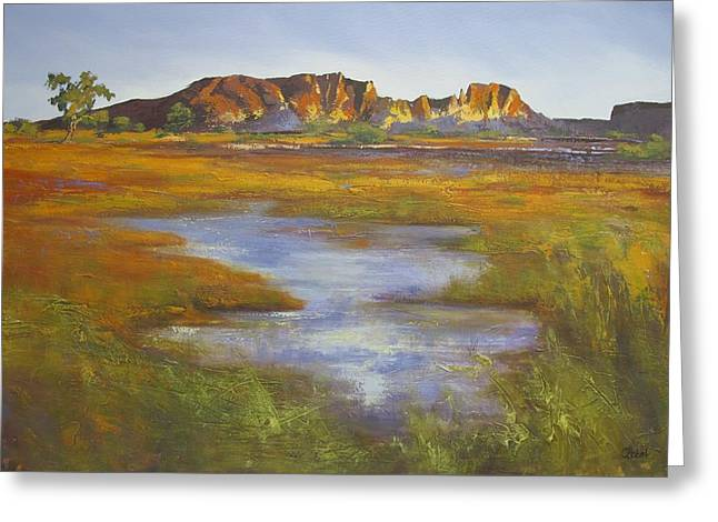 Greeting Card featuring the painting Rainbow Valley Northern Territory Australia by Chris Hobel