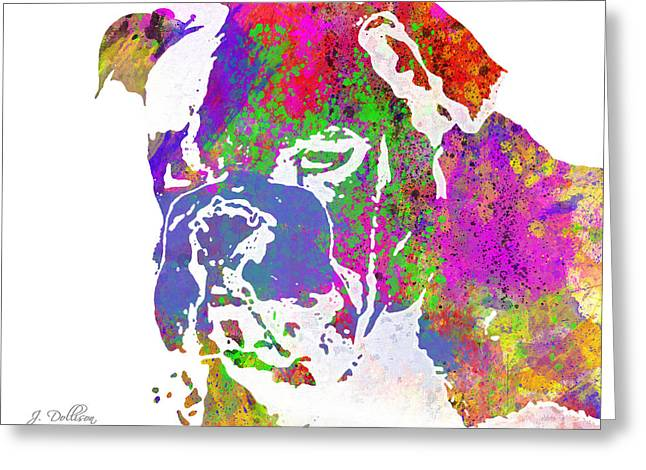 Rainbow Watercolor Bulldog Greeting Card