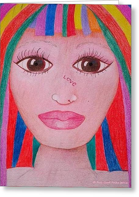Rainbow Wig For Women Who Have Hairloss Greeting Card