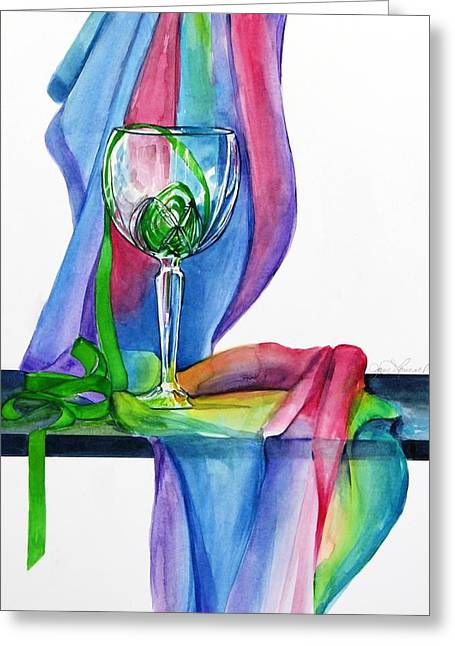 Rainbow Wine Glass Greeting Card