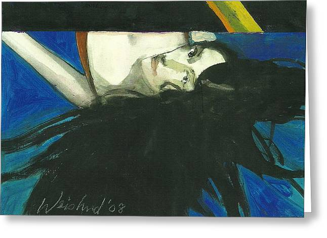 Rainbow  Woman Black Hair Greeting Card by Harry  Weisburd