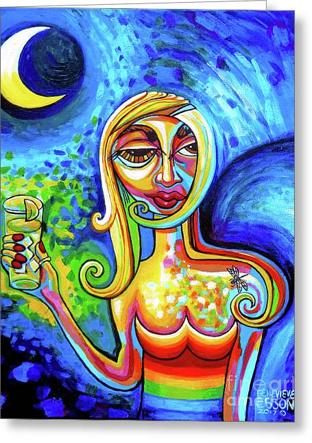 Rainbow Woman With A Crescent Moon Greeting Card