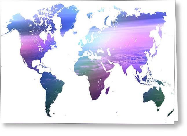 Rainbow World Map. Blue Purple Greeting Card