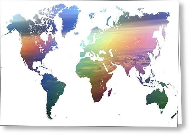 Rainbow World Map Greeting Card