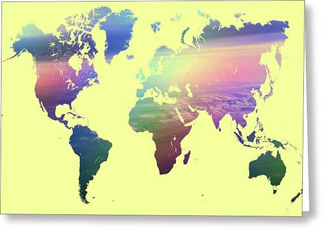 Rainbow World Map. Yellow Version Greeting Card