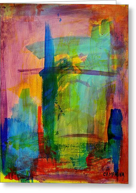Greeting Card featuring the painting Rainbow Wreck by Teddy Campagna