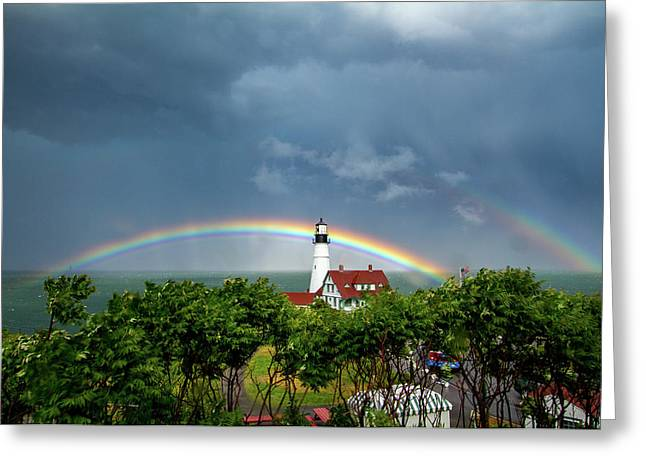 Rainbow X 2 At Portland Headlight Greeting Card
