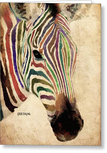 Greeting Card featuring the painting Rainbow Zebra by Greg Collins