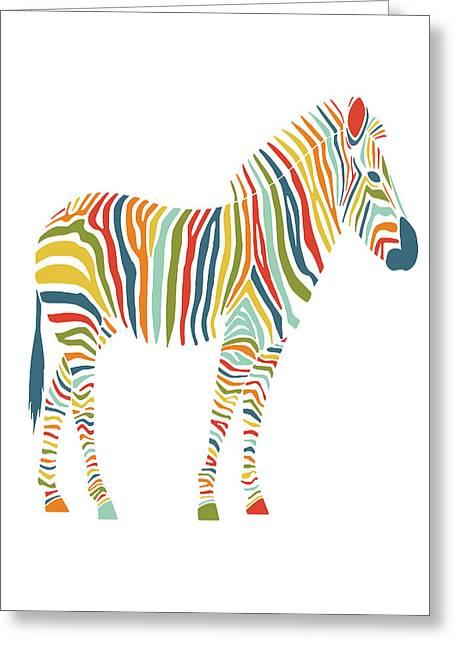Rainbow Zebra Greeting Card by Nicole Wilson