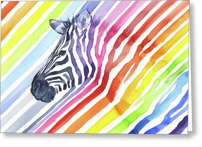 Rainbow Zebra Pattern Greeting Card by Olga Shvartsur