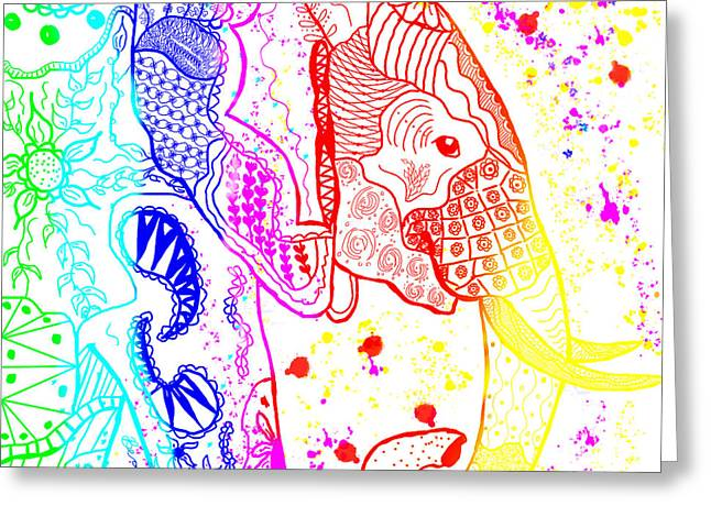 Rainbow Zentangle Elephant Greeting Card