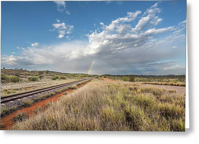 Rainbows Over Ghan Tracks Greeting Card