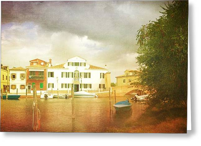 Greeting Card featuring the photograph Raincloud Over Malamocco by Anne Kotan