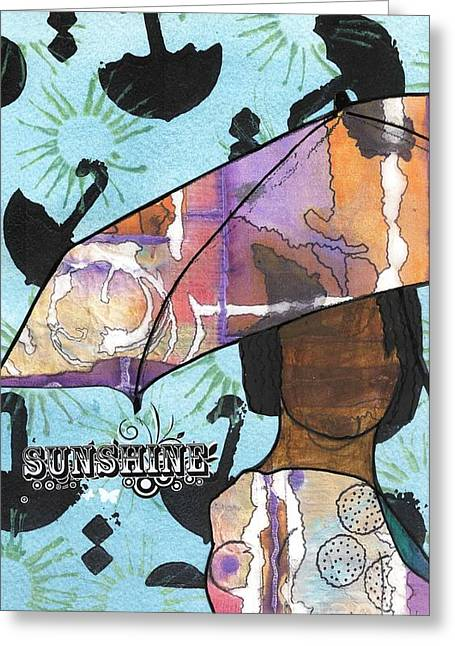 Jubilation Greeting Cards - Raindrops... and Sunshine Greeting Card by Angela L Walker