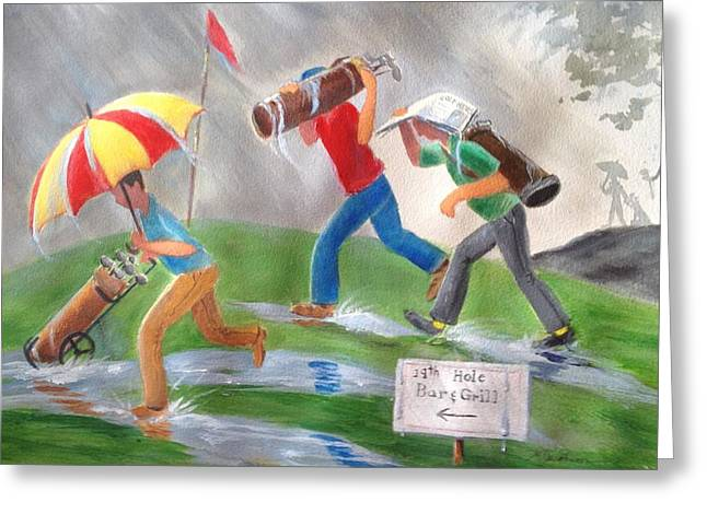 Rained Out Greeting Card by Marilyn Jacobson