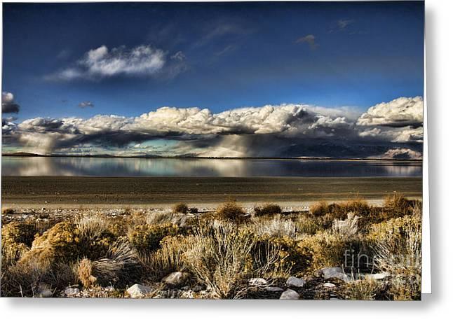 Rainfall Over The Salt Lake Greeting Card by Douglas Barnard