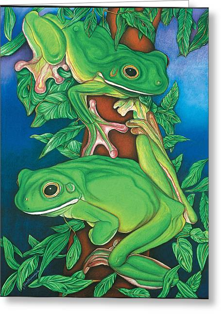 Pastel Drawing Greeting Cards - Rainforest Rendezvous Greeting Card by Lesley Smitheringale