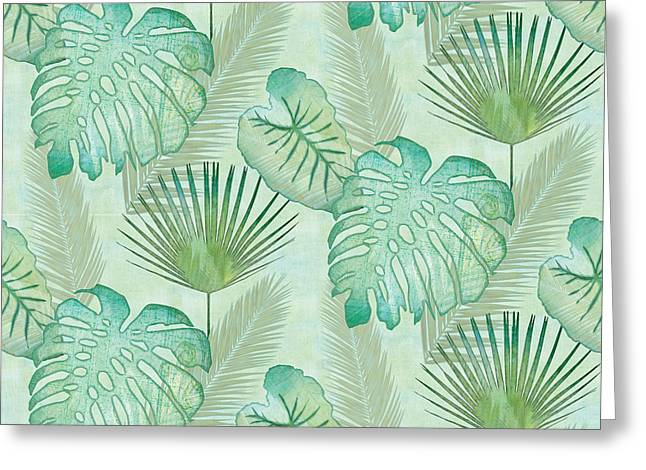 Rainforest Tropical - Elephant Ear And Fan Palm Leaves Repeat Pattern Greeting Card by Audrey Jeanne Roberts