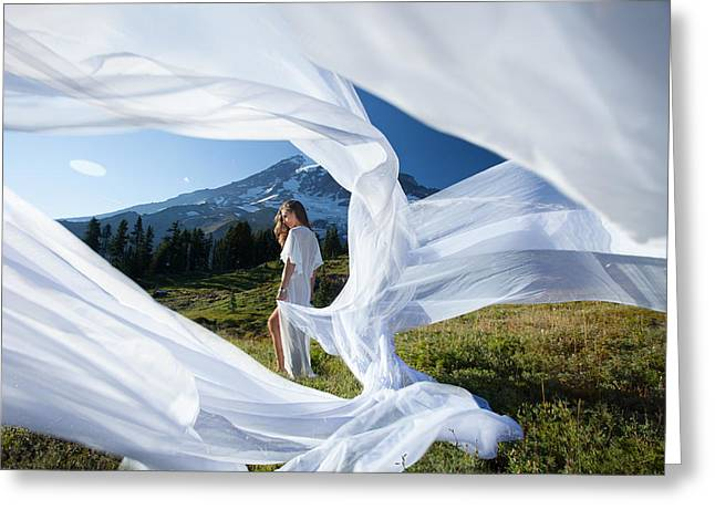 Greeting Card featuring the photograph Rainier Ribbons by Dario Infini