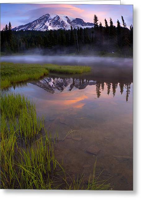Rainier Sunrise Cap Greeting Card