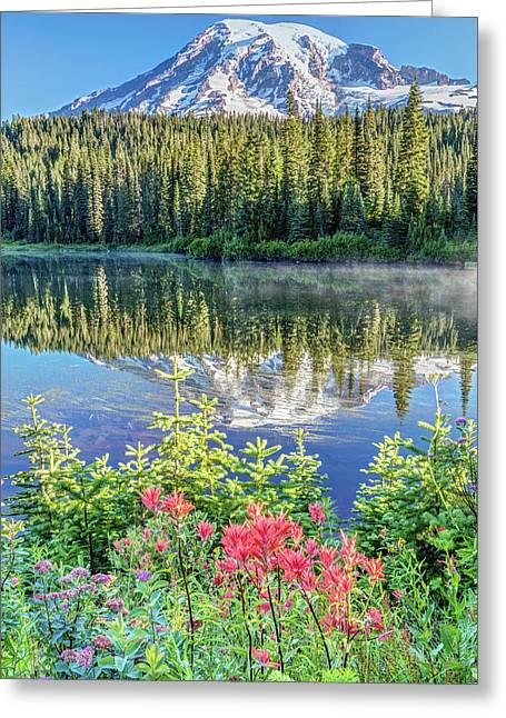 Greeting Card featuring the photograph Rainier Wildflowers At Reflection Lake by Pierre Leclerc Photography