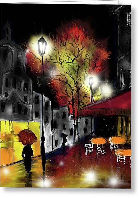 Greeting Card featuring the digital art Raining And Color by Darren Cannell